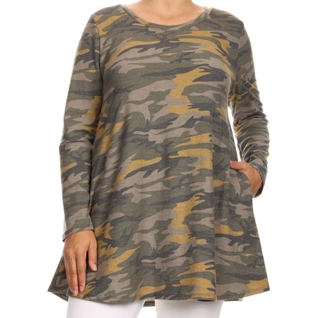 Womens Plus Size Long Sleeve Pocket Jersey Knit Tunic Top Tee Shirt USA Green Yellow 1XL B517 AMY BNY Corner