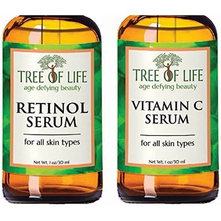 Anti Aging Serum Two-Pack - Highly Natural and Organic Anti Wrinkle Serum - Vitamin C Serum - Retinol Serum - Anti Aging Serums for Daytime and Nighttime