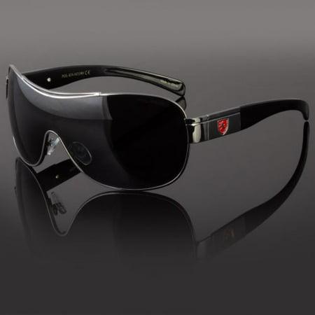 Khan Mens Designer Shield Wrap Around Large Sunglasses Fashion Shades (Wrap Around Shades Glasses)