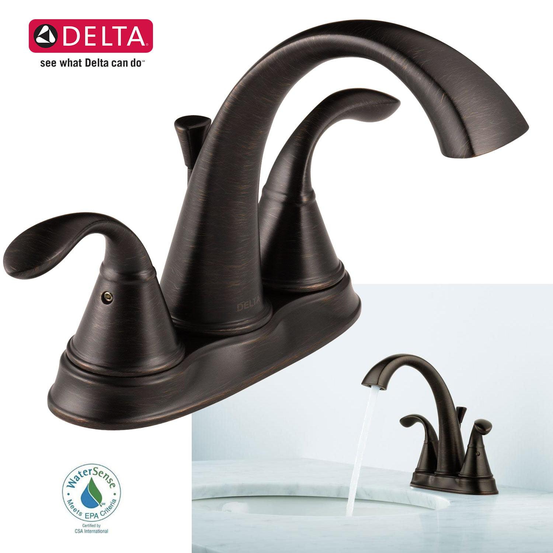 Delta Faucet Zella 4 in. 2-Handle Bathroom Sink Centerset Bath ...