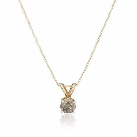 Vir Jewels 1/2 cttw Champagne Diamond Solitaire Pendant Necklace 14K Yellow Gold