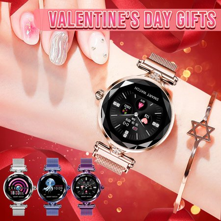 Fashion Women Glass Dazzling Watch Smart Bracelet Smart watch With Blood Pressure/ Heart Rate/ Sleep Monitor/ Predict Menstrual Circle/ Pedometer APP Connect for Android (Try On Glasses App Android)
