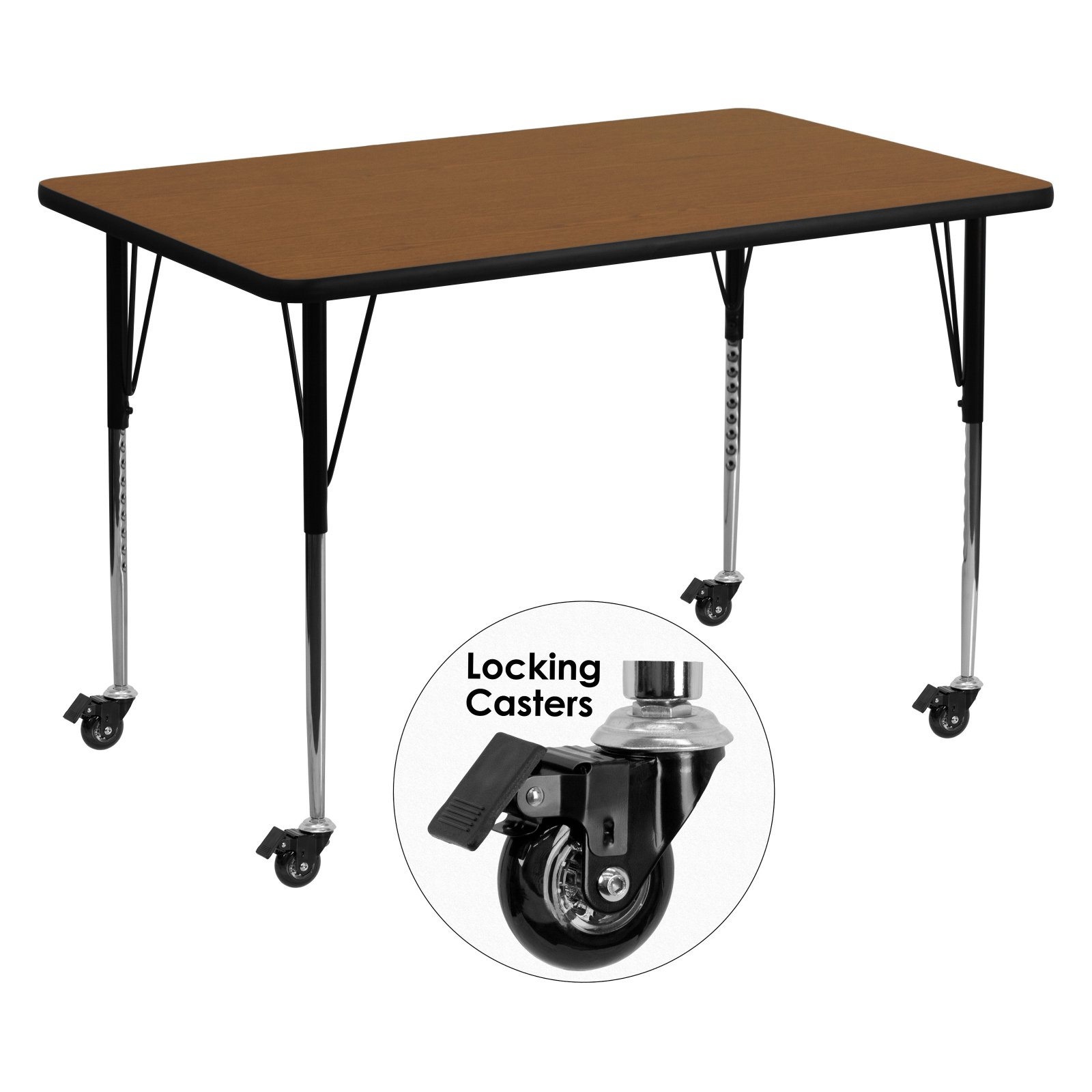 Flash Furniture Mobile 36''W x 72''L Rectangular Activity Table with 1.25'' Thick High Pressure Oak Laminate Top and Standard Height Adjustable Legs