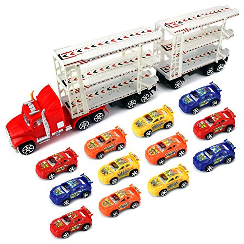 Heavy 3 Floor Trailer Children's Friction Toy Semi Truck Ready To Run w/ 12 Toy Cars (Colors May Vary)