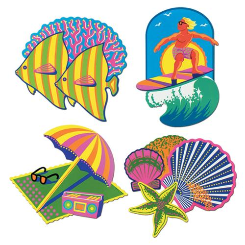 """Club Pack of 48 Vibrant Multi-Colored Tropical Beach Cutout Decorations 16.5"""""""
