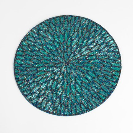 Saro Lifestyle Beaded Design Placemats (set of 4) Teal (Round Placemats Teal)