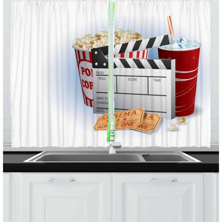 Movie Theater Curtains 2 Panels Set, Soda Tickets Fresh Popcorn and Clapper Board Blockbuster Premiere Cinema, Window Drapes for Living Room Bedroom, 55W X 39L Inches, Multicolor, by Ambesonne