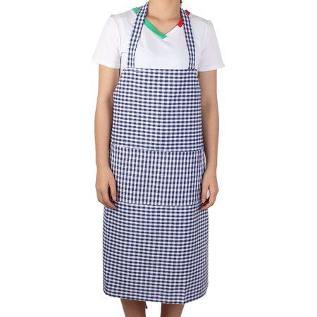 Kitchen Housework Pastoral Style Grid Pattern Cooking Baking Apron Dark Blue Grids Pattern Cotton Blends