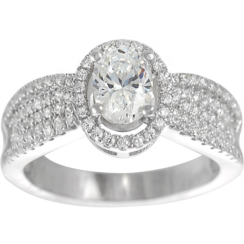 Alexandria Collection Sterling Silver Cubic Zirconia Engagement Ring