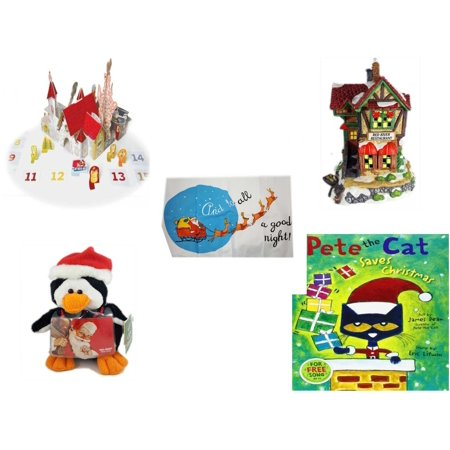 "Christmas Fun Gift Bundle [5 Piece] - Olive, the Other Reindeer Pop-Up Advent Calendar -  Village ""Red River Restaurant"" Lighted Porcelain House - Santa"