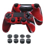TSV Ergonomic Silicone Protective Cover Skin Accessories Compatible with PS4 / PS4 Slim / PS4 Pro Wireless Pro Controller, Non-slip Cover Protector Case for Gaming Controller, 8 Thumb Stick Grip Caps