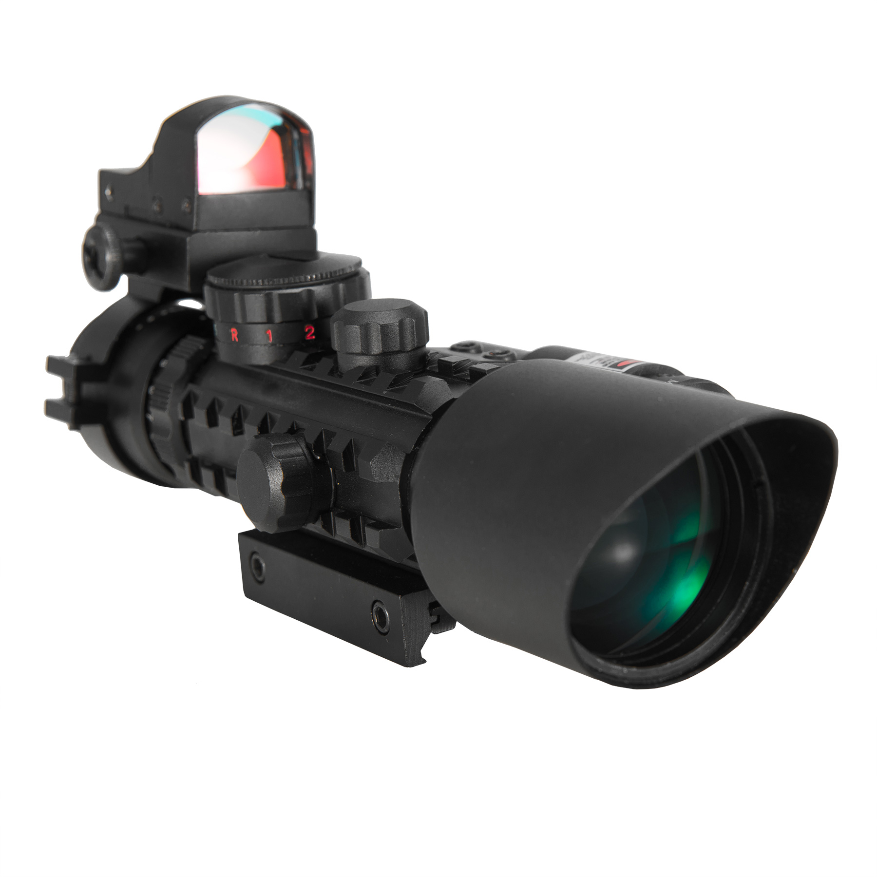 Premium 3-in-1 combo 3-10x40EG Mil Dot Rangefinder Tactical Riflescope Reticle with Laser Sight and Red Dot Sight... by Pinty