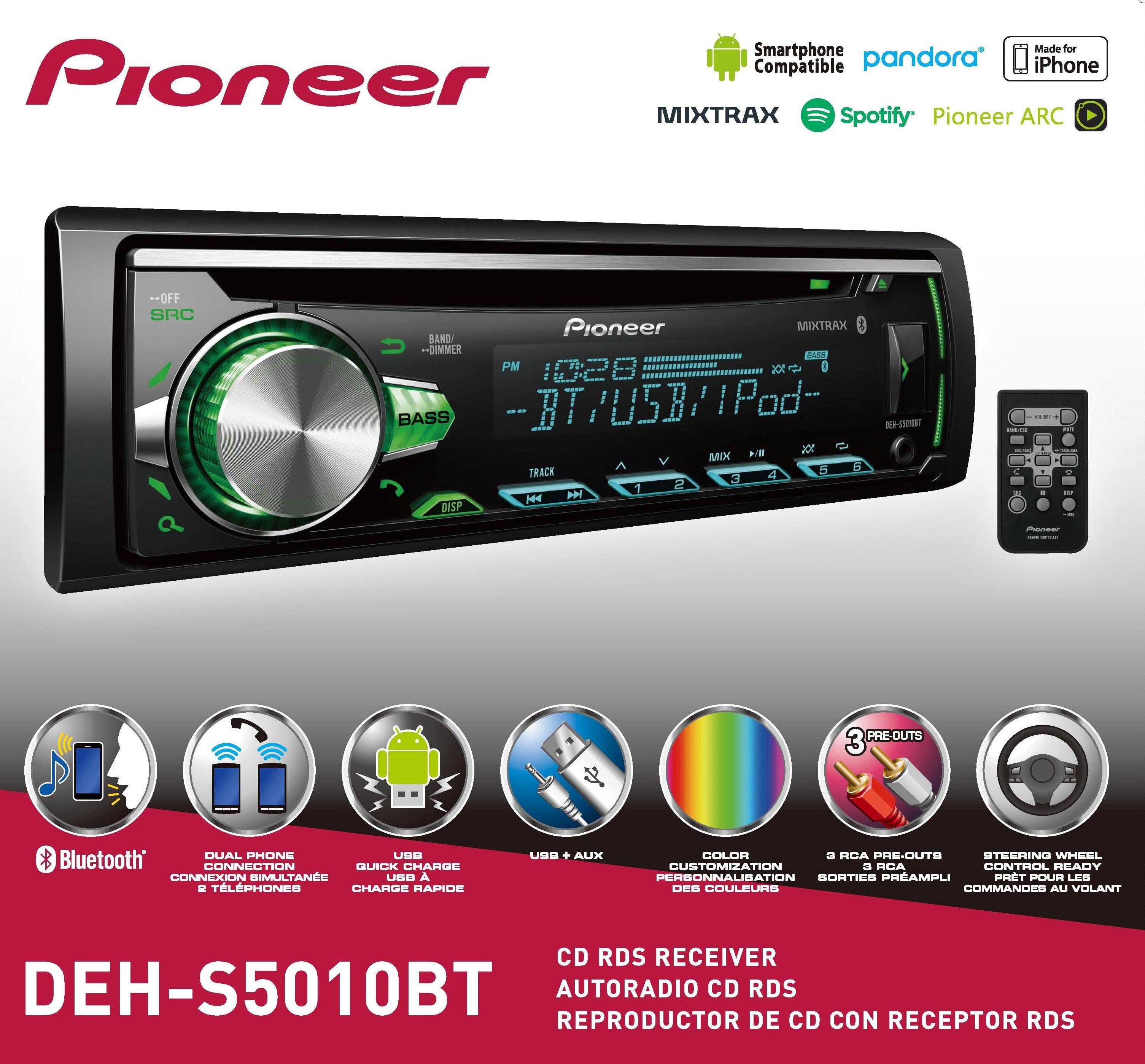 Pioneer DEH-S5010BT Bluetooth Single CD Receiver