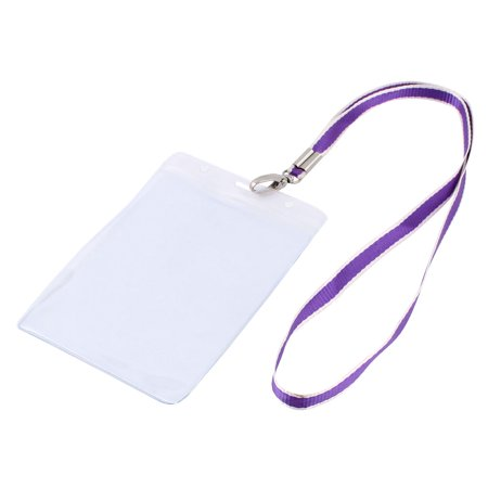 Plastic Vertical Style Purple Lanyard Name Company Position Badge Card Holder (Potion Names For Halloween)