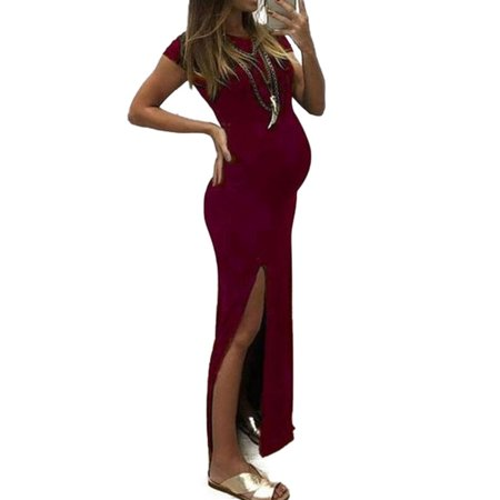 Pregnant Women Maternity Long Slit Party Dress Summer Photography