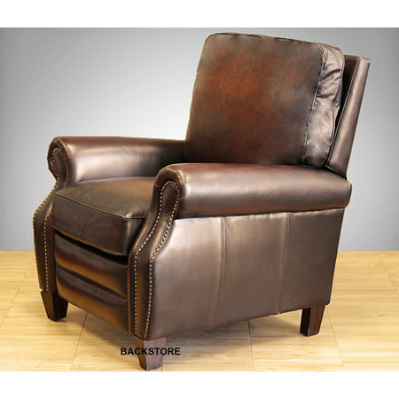 Barcalounger Briarwood II Leather Manual Recliner Stetson Bordeaux Top Grain Leather Chair with Espresso Wood Legs 7-4490  5407-17- Standard Curbside Delivery to Hawaii, Alaska, Puerto Rico and (Island Leg Corbel)