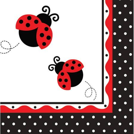 Club Pack of 192 Ladybug Fancy Premium 3-Ply Disposable Lunch Napkins - Ladybug Napkins