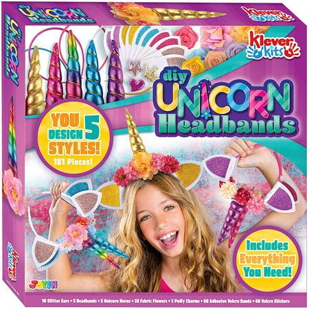 Diy Headband Kit (JoyX Klever Kits Create Your Own Unicorn Headband Girls Art & Craft Kit DIY Unicorn Fashion Headband Hair Accessories,JoyX)