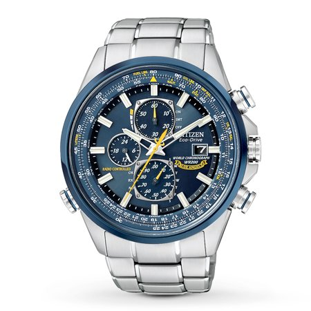 - Men's Eco Drive Blue Angels World Chronograph A-T AT8020-54L Silver-Tone Stainless Steel Bracelet with Blue Dial Watch