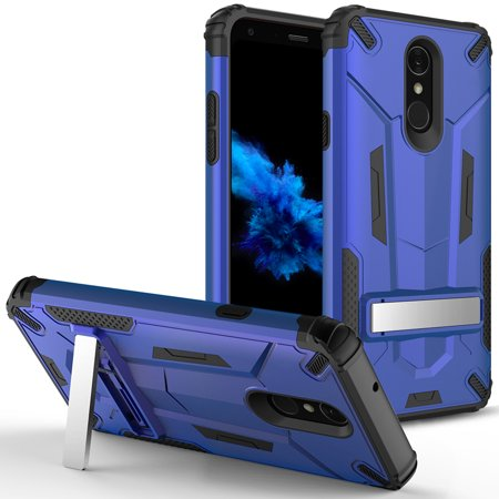 LG Q7+ Case - ZV Hybrid Dual Layered Case with Built in Kickstand Slim and  Shockproof [UV Coated] Metallic PC LG Q7 Plus