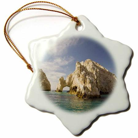 Lands End Rock (3dRose Lands End, The Arch, Rock Formation, Mexico - SA13 SWS0215 - Stuart Westmorland, Snowflake Ornament, Porcelain,)