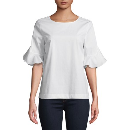 Calvin Klein Womens Sheer Ruffle Sleeves Pullover Top