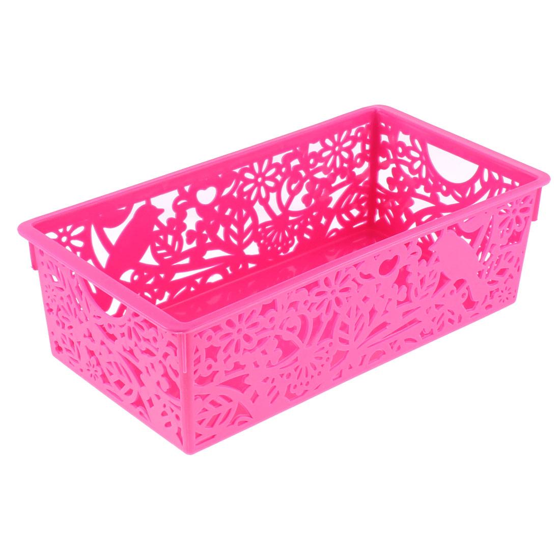 Household Plastic Hollow Out Floral Design Storage Basket 28cmx15cm Fuchsia