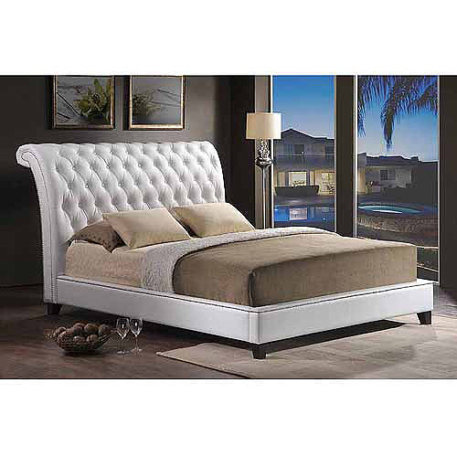 Baxton Studio Jazmin Tufted King Modern Bed with Upholstered Headboard, White
