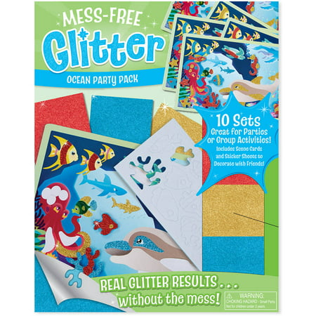 (Melissa and Doug Mess-Free Glitter Ocean Party Pack, 10 Sets of Scene Cards and Sticker Sheets to Decorate)