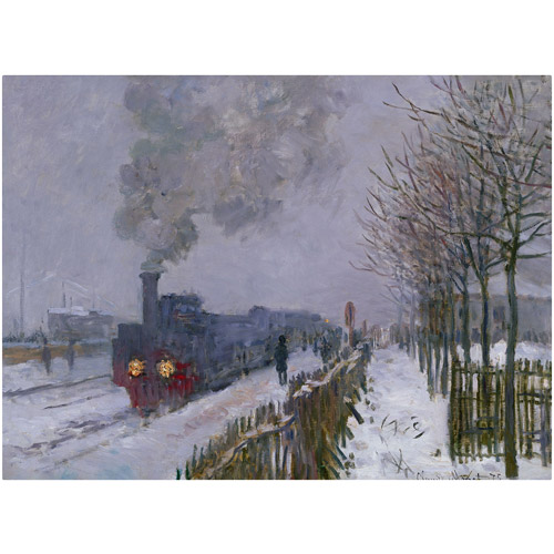 "Trademark Fine Art ""Train In the Snow"" Canvas Art by Claude Monet"