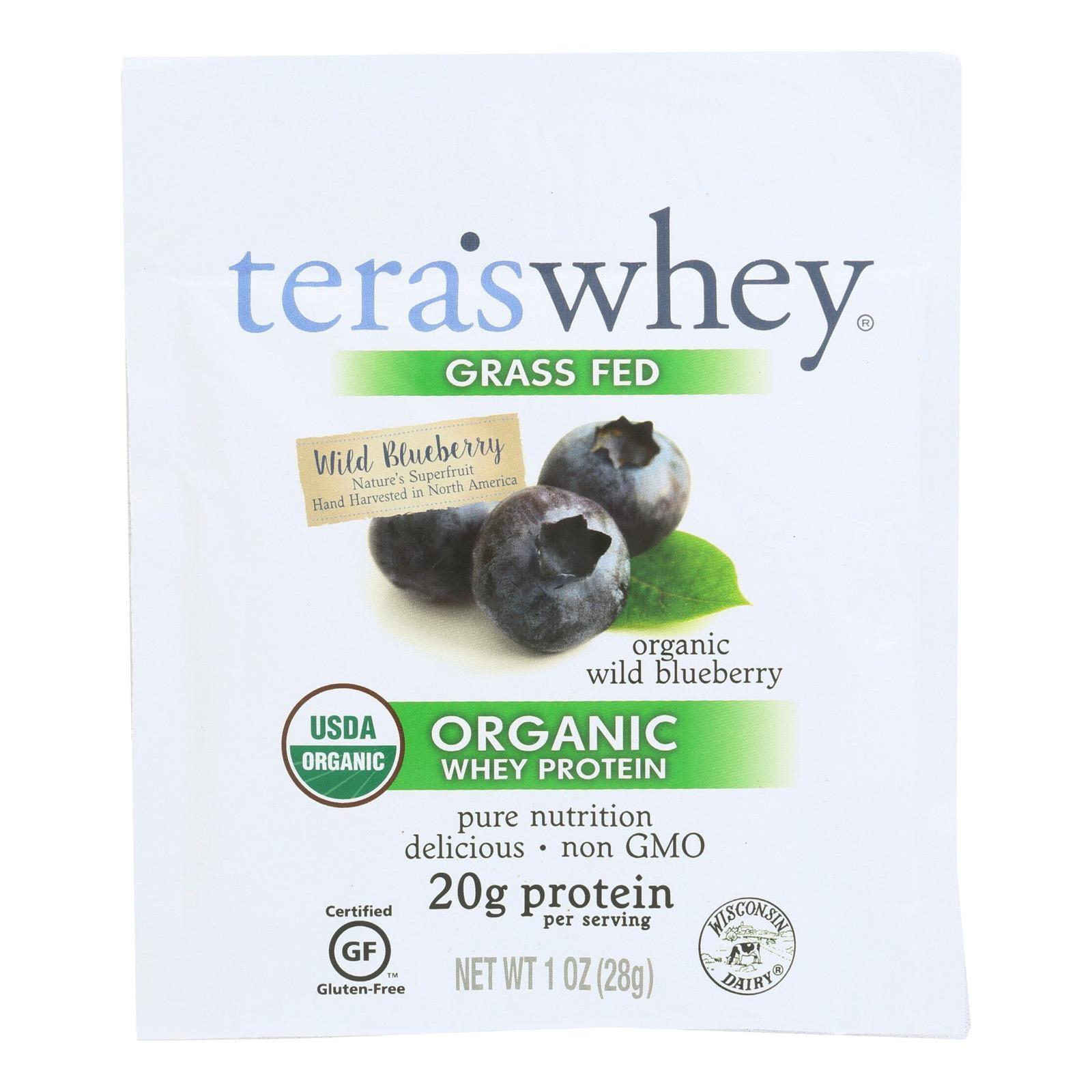Teras Whey Protein Powder - Whey - Organic - Wild Blueberry - 1 Oz - Pack of 12