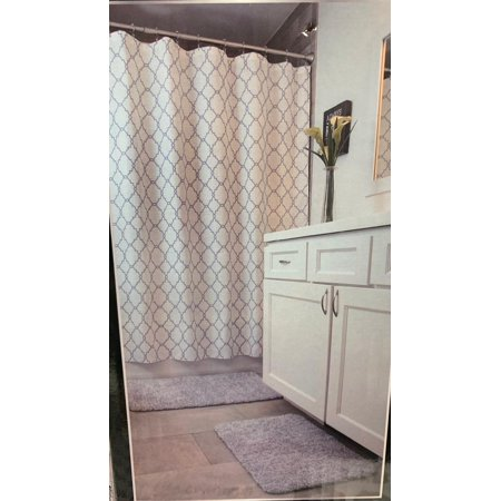 Mon Chateau 5 Piece Bath Set 2 Bath Rugs 1 Shower Curtain 1 Shower Liner 1 Set Of 12 Metal Hooks (Chateau Ogee Liner)