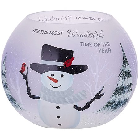 Pavilion Gift Company - Round, Snowman Tealight Candle Holder, 5 Inch