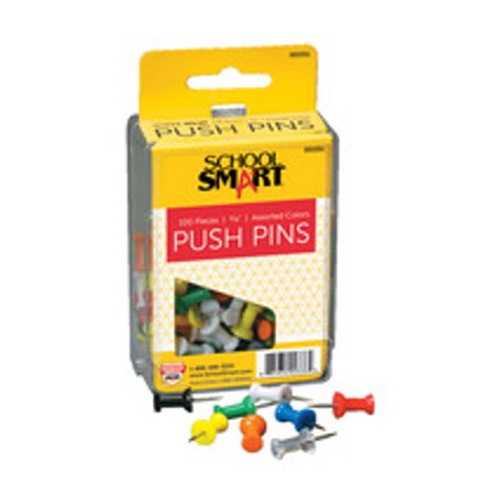 school smart push pin for bulletin boards, 3/8 in l, 1/2 in head, plastic head/steel point, assorted color, pack of 100 ()