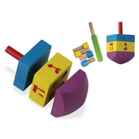 8 Piece DIY Chanukah wood Dreidel Kit With Tool ()