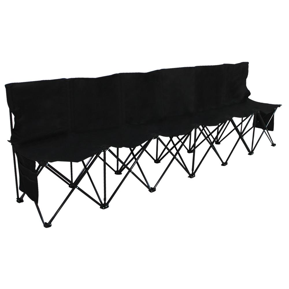 6 Seats Portable Folding Bench For Sports Camping Black