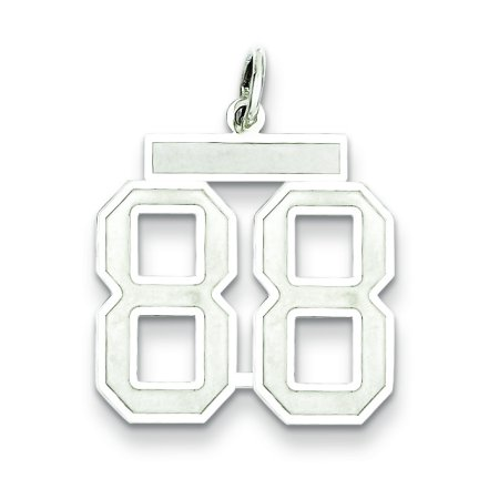Sterling Silver Rhodium-plated Medium Satin Number 88 Charm QPM88 (22mm x 18mm) - image 1 of 2