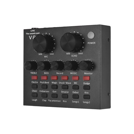 External Audio Mixing Sound Card USB Audio Interface with Multiple Sound Effects Built-in Rechargeable Battery for Singing Shouting Live Streaming Chating Music