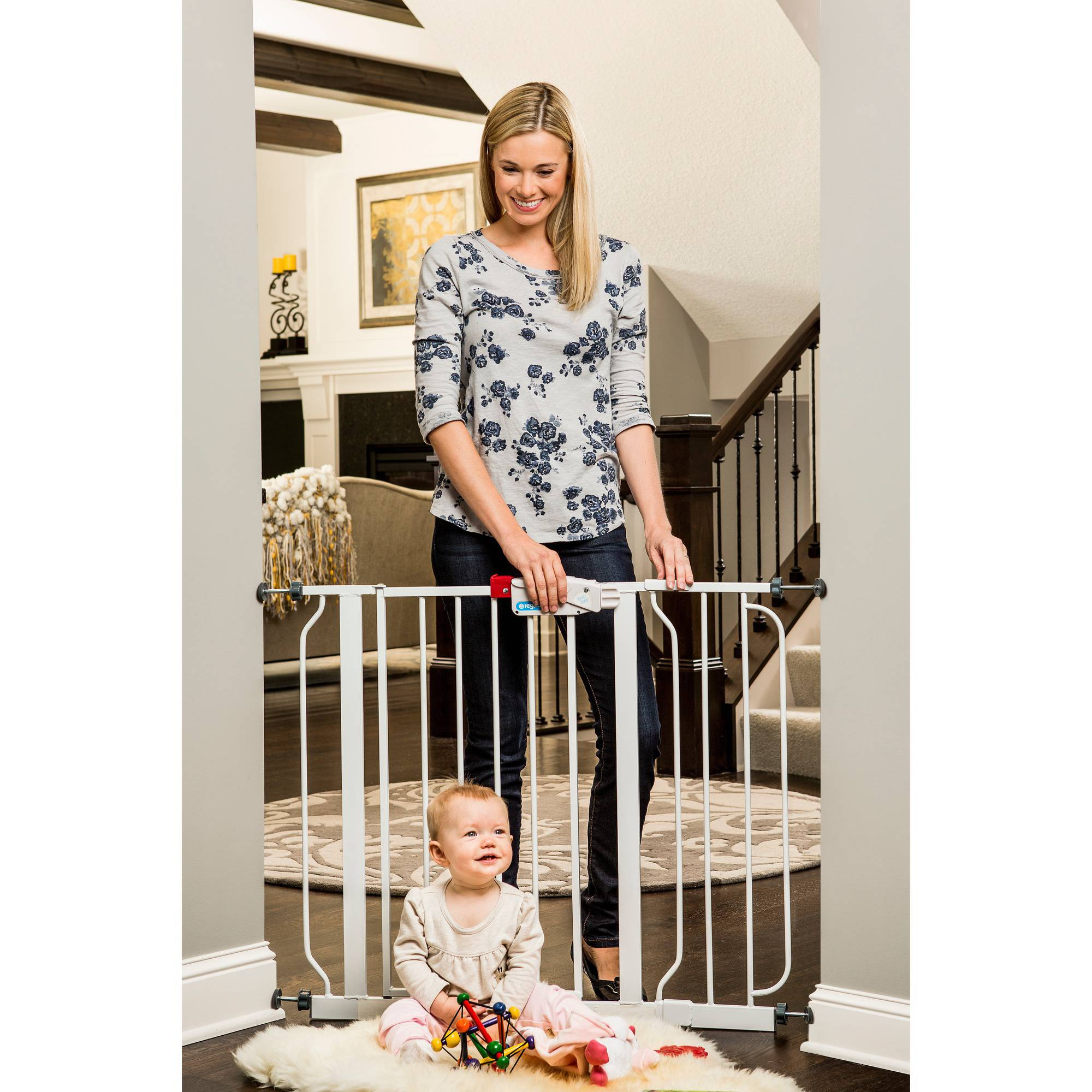 Regalo Easy Step Walk Through Baby Gate, Pressure Mount with Included Extension Kit