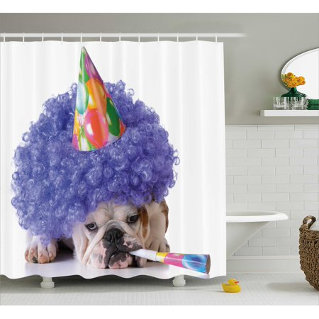 Birthday Decorations For Kids Shower Curtain Boxer Dog Animal With Purple Wig Colorful Party