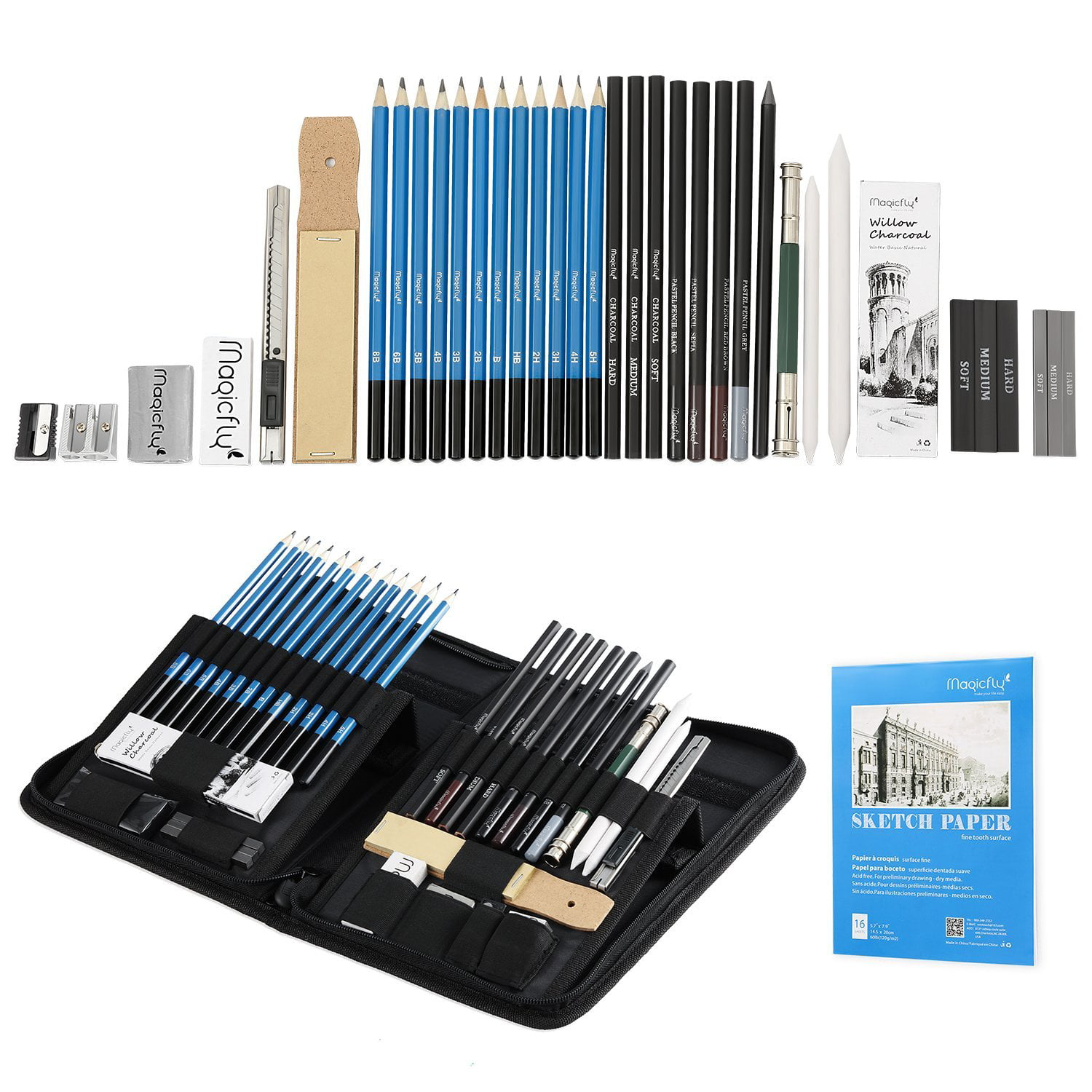 Charcoal sketching pencils set 41 pcs magicfly drawing pencil sketch set professional graphite pencil set