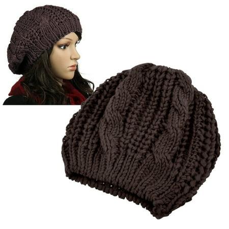 Zodaca Brown Unisex Womens Mens Winter Warm Knit Beret Hat Beanie Crochet Ski Baggy Ball Cap Hat