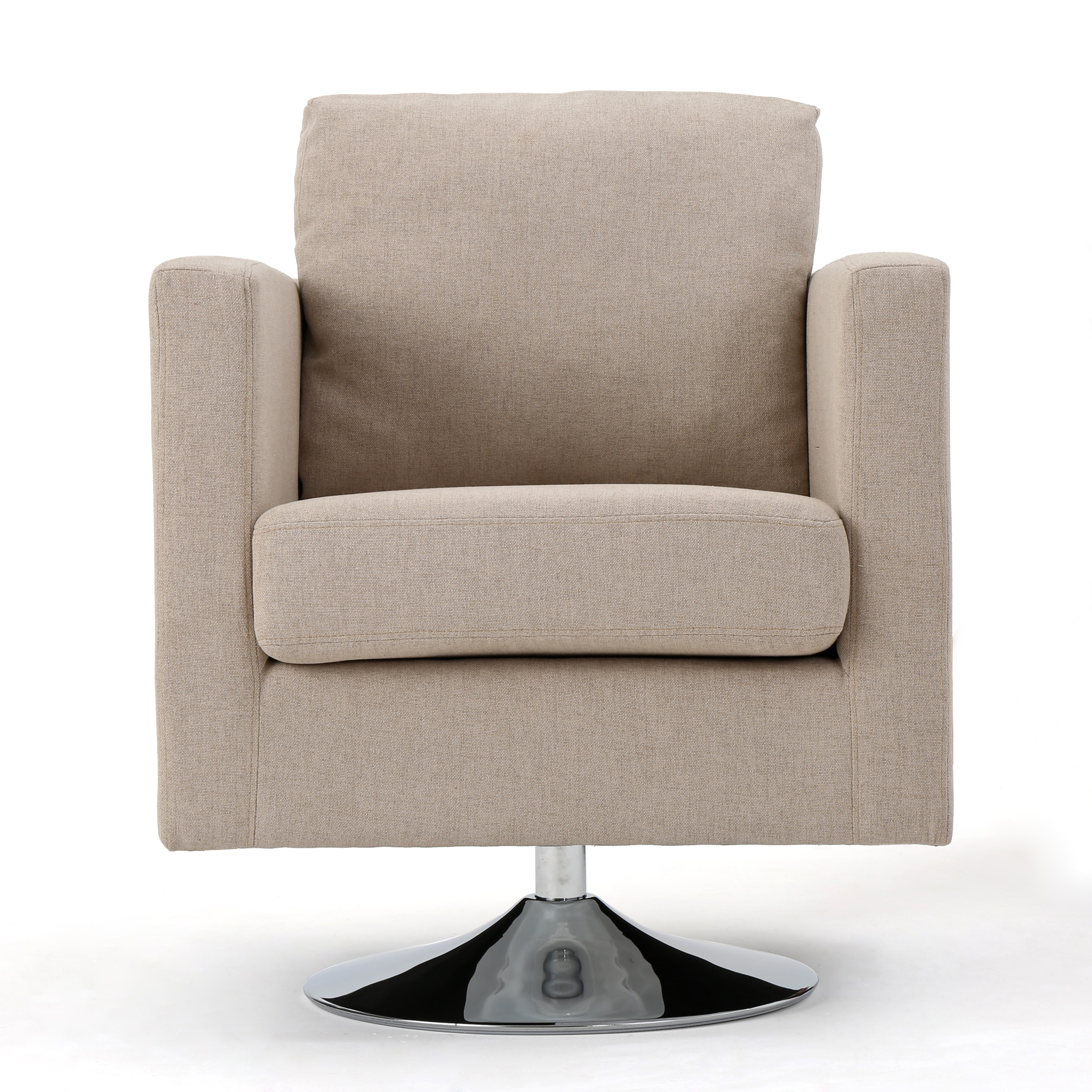 Hahn Modern Fabric Swivel Armchair, Cream