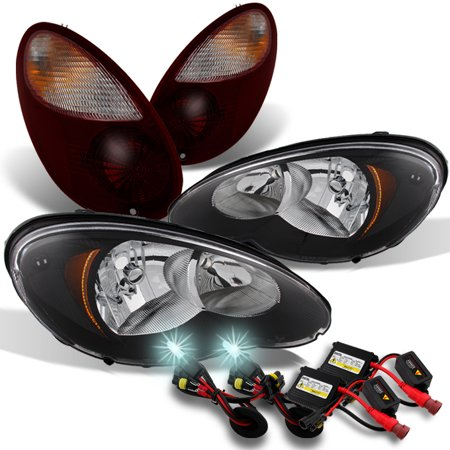 Cruiser Chrome Headlight - Fit 06-10 PT Cruiser Black Headlights + Dark Red Tail Lights +  8000K HID