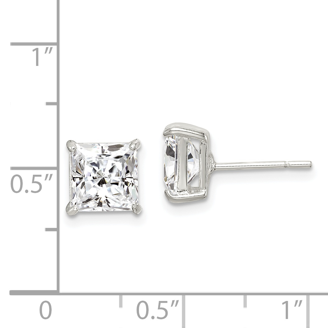trending jewels Silver Square Solitaire Stud Earrings with CZ Crystal Size 3mm to 8mm