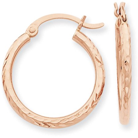 14kt rose gold diamond cut polished hoop earrings