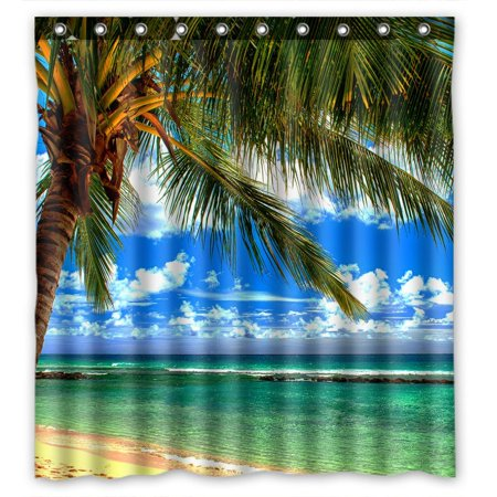 Palm Shower Curtain (GCKG Beach Palm Tree Waterproof Polyester Shower Curtain and Hooks Size 66x72)