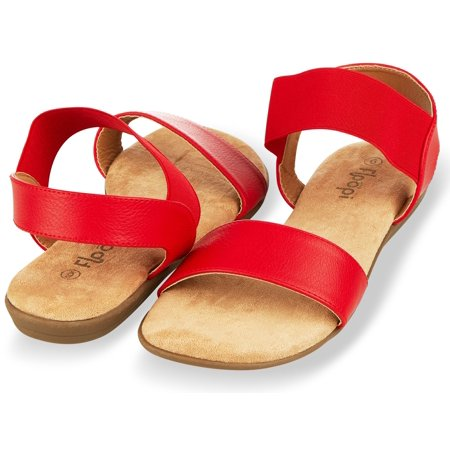 Extra Wide Leather Sandals - Floopi Sandals for Women | Cute, Open Toe, Wide Elastic Design, Summer Sandals| Comfy, Faux Leather Ankle Straps W/Flat Sole, Memory Foam Insole