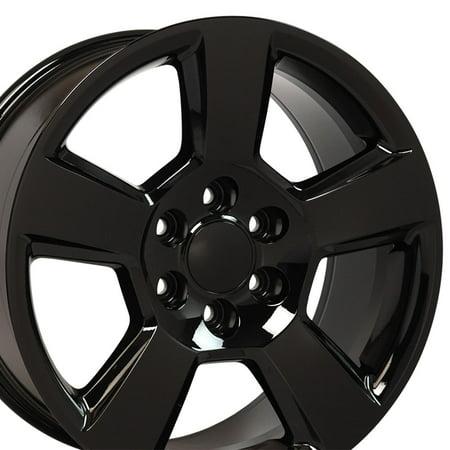 20x9 Wheels Fit GM Truck & SUV - Chevy Tahoe Style Black Rims, Hollander 5652 - SET ()