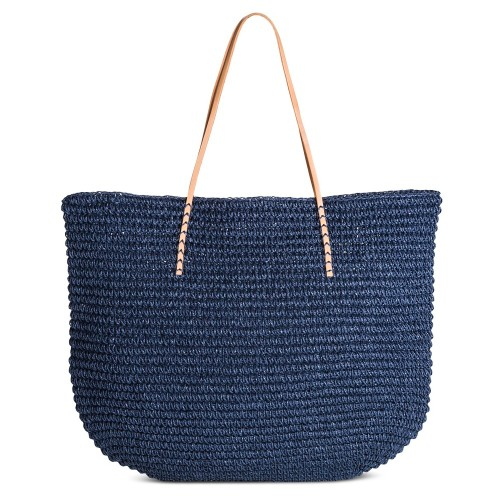 Merona Women's Solid Packable Large Straw Tote Bag, Navy